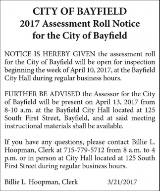 2017 Assessment Roll Notice for the City of Bayfield