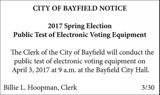 2017 Spring Election Public Test of Electronic Voting Equipment