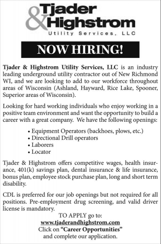 Equipment Operators, Directional Drill operators, Laborers, Locator