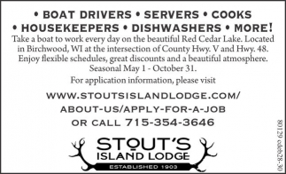 Boad Drivers, Servers, Cooks, Housekeepers, Dishwashers