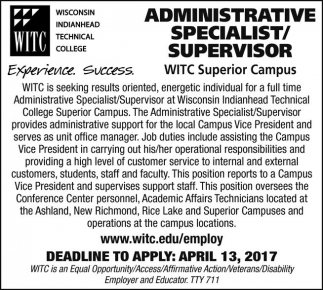 Administrative Specialist / Supervisor