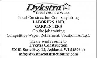 Dykstra Construction Laborers an Carpenters – Construction Laborer Job Description