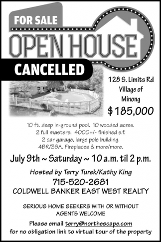 FOR SALE OPEN HOUSE CANCELLED