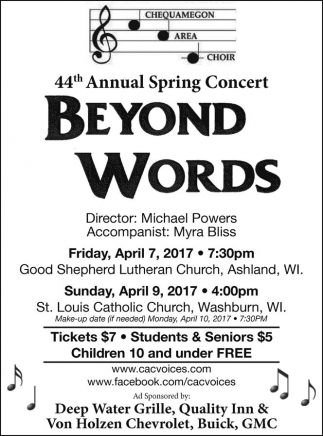 44th annual spring concert beyond works chequamegon area choir Just the Word Area 44th annual spring concert beyond works chequamegon area choir washburn wi