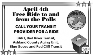 April 4th Free Ride to and from the Polls
