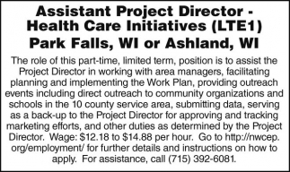 Assistant Project Director - Health Care Initiatives (LTE1)