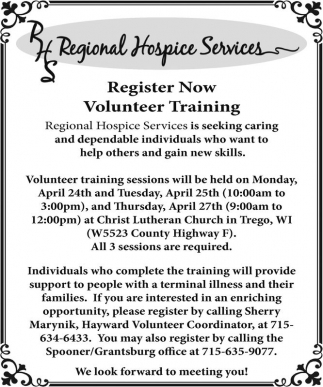 Register Now Volunteer Training