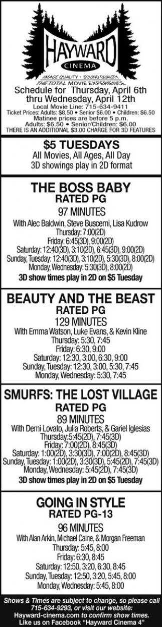 The Boss Baby, Beauty and The Beast, Smurfs: The Lost Village, Going in Style