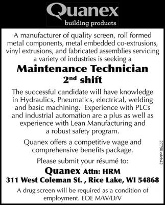 Maintenance Technician 2nd shift