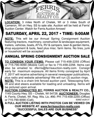 Annual Spring Consigment Auction Sale