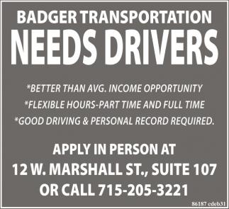 NEEDS DRIVERS