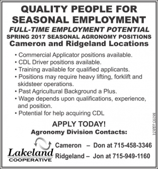 Spring 2017 Seasonal Agronomy Positions