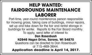 Fairgrounds Maintenance Laborer