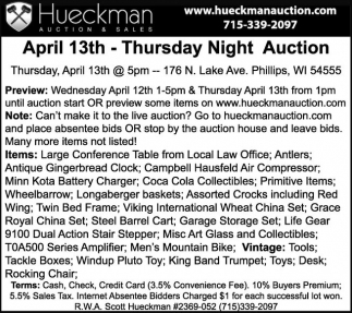 April 13th - Thursday Night Auction