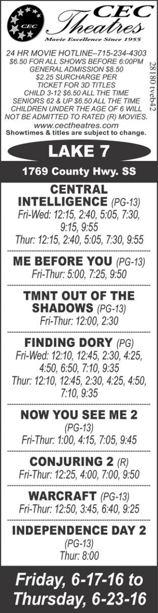 Showtimes and titles are subject to change