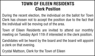 Clerk Position