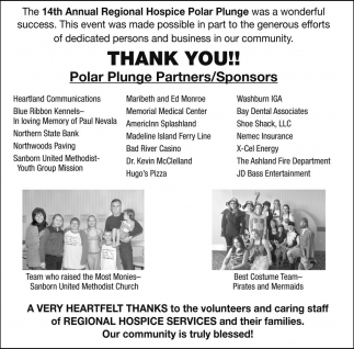 Thank you!! Polar Plunge Partners / Sponsors
