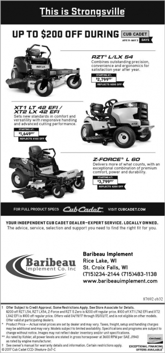 Up to $200 off during Cub Cadet Days