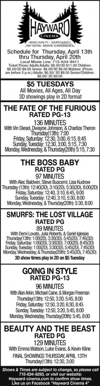 The Fate of The Furious, The Boss Baby, Smurfs: The Lost Village, Going in Style, Beauty and The Beast