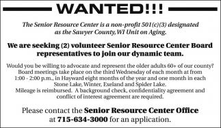 We are seeking 2 volunteer Senior Resource Center Board representatives to join our dynamic team