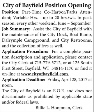 Part-Time Co-Harbor/Parks Attendant