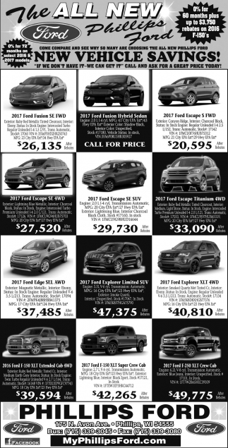 New Vehicles Savings!