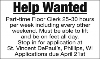 Part-time Floor Clerk