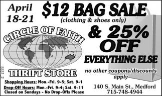 $12 Bag Sale & 25% off