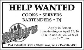 Cooks, Servers, Bartenders, Dj