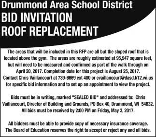 Bid Invitation Roof Replacement