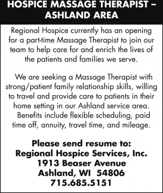Hospice Massage Therapist - Ashland Area