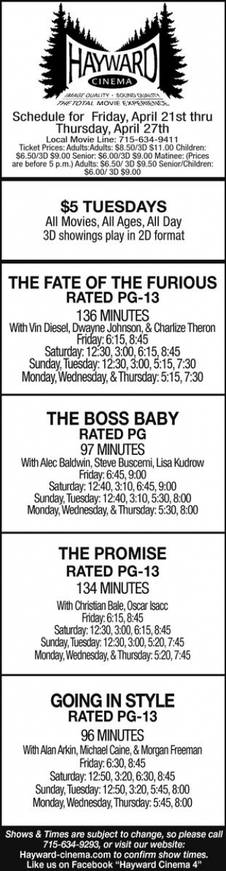 The Fate of The Furious, The Boss Baby, The Promise, Going in Style