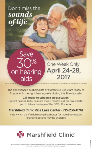 Save 30% on hearing aids