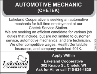 Automotive Mechanic (Chetek)