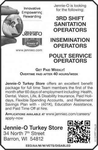 3rd shift sanitation operators / insemination operators / poult service operators