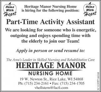 Part-Time Activity Assistant