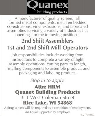Shift Assemblers, Mill Operators