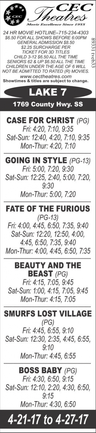 Case for Christ, Going in Style, Fate of The Furious, Beauty and The Beast, Smurfs: Lost Village, Boss Baby