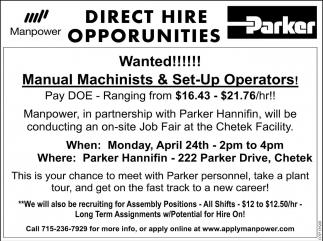 Manual Machinists & Set-Up Operators