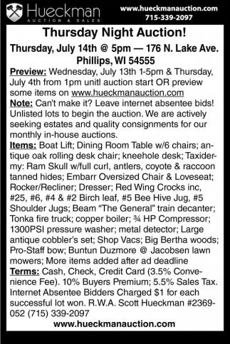 Thursday Night Auction!