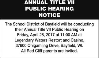 Annual Title VII Public Hearing Notice