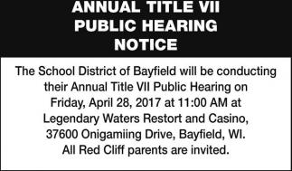 Annual Title VII Public Hearing Notice