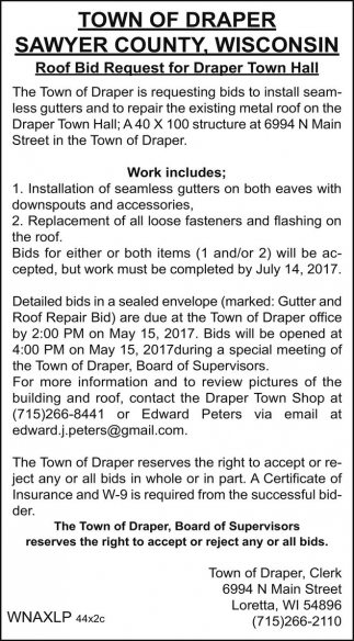 Roof Bid Request for Draper Town Hall