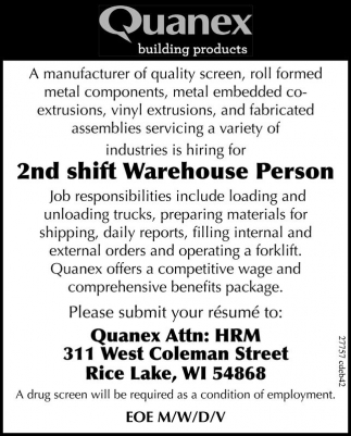 2nd shift Warehouse Person