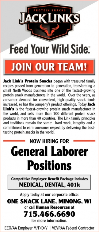 General Laborer Positions