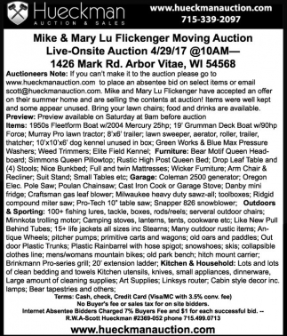 Mike & Mary Lu Flickenger Moving Auction Live-Onsite Auction 4/29/17