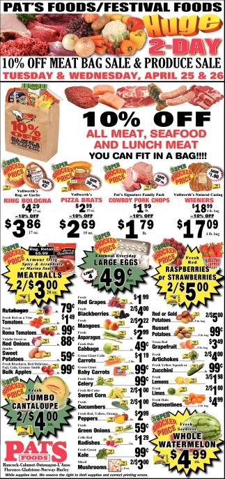 Festival Foods Huge 2-Day 10% off meat bag sale & produce sale