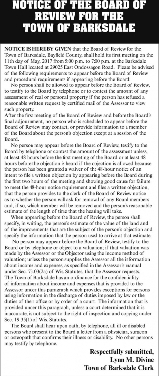Notice of the Board of Review for the Town Of Barksdale
