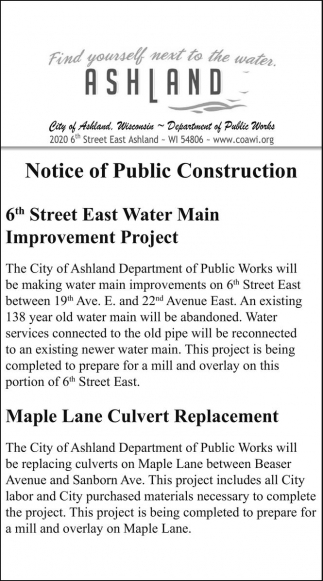 Notice of Public Construction