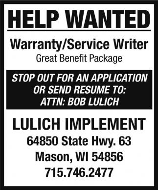 Warranty/Service Writer